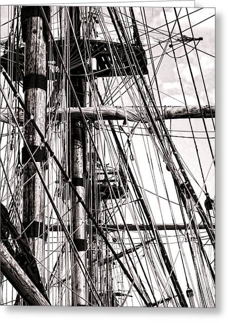 Sailing Ship Greeting Cards - Rigging Greeting Card by Olivier Le Queinec