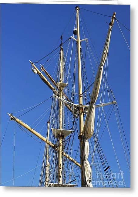 Masts Greeting Cards - Rigging Greeting Card by Wendy Wilton