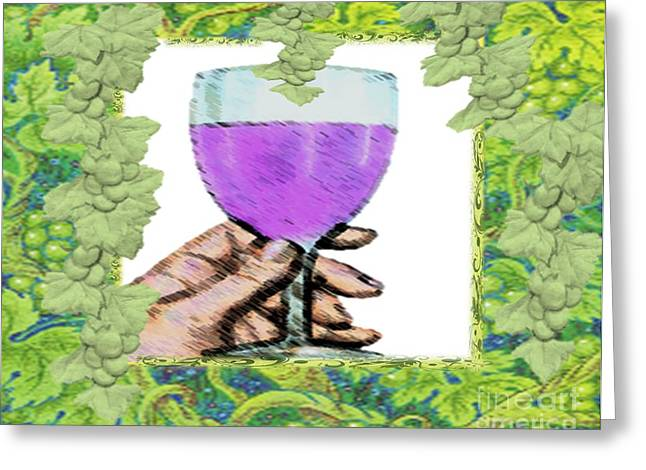 Grape Vines Drawings Greeting Cards - Right and Ripe Greeting Card by Belinda Threeths