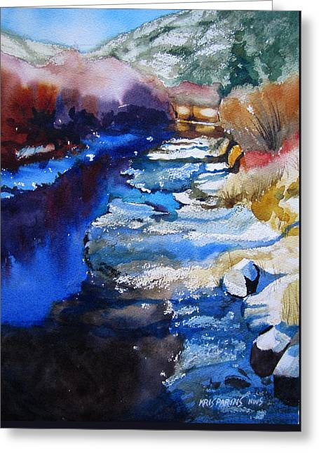 Runoff Greeting Cards - Right Bank Greeting Card by Kris Parins