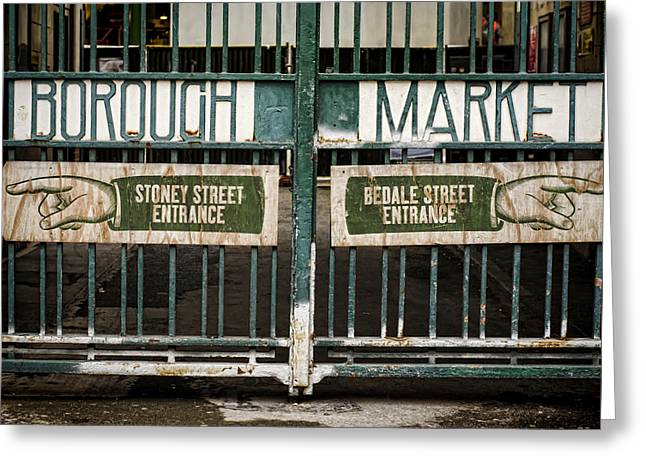 Borough Market Greeting Cards - Right or Left Greeting Card by Heather Applegate
