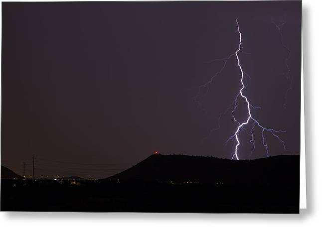 Arizona Lightning Greeting Cards - Right There Greeting Card by Cathy Franklin