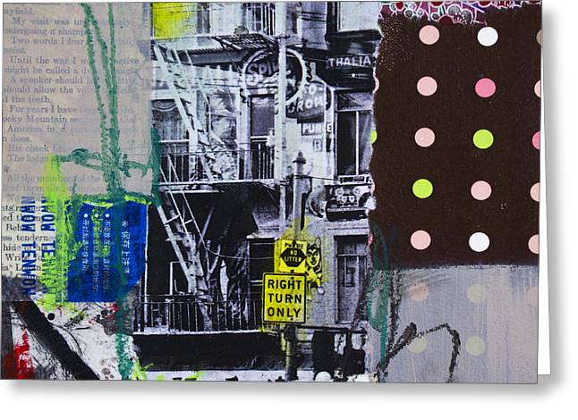 Town Mixed Media Greeting Cards - Right turn only Greeting Card by Elena Nosyreva