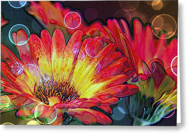 Floral Digital Art Greeting Cards - Righteous Rainbow Blooms Greeting Card by Bill Tiepelman