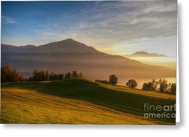 Caroline Pirskanen Greeting Cards - Rigi - Queen of the Mountains Greeting Card by Caroline Pirskanen