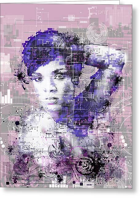 Rihanna 3 Greeting Card by Bekim Art