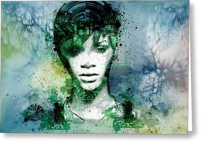 Rihanna 4 Greeting Card by Bekim Art