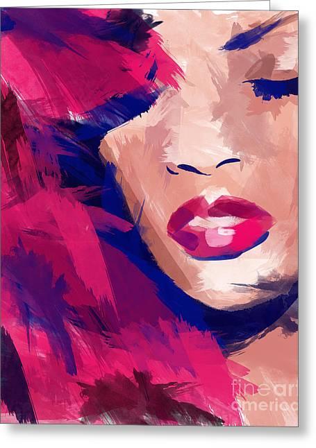 Top Selling Digital Art Greeting Cards - Rihanna Greeting Card by Ahmad Alyaseer