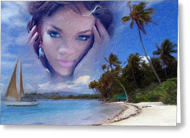 Recording Artists Greeting Cards - Rihanna Greeting Card by Anthony Caruso