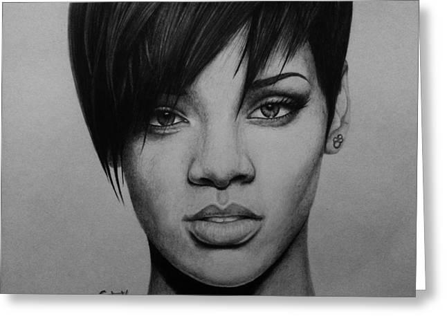 Rihanna Greeting Card by Carlos Velasquez Art
