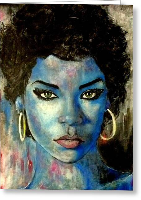 Rihanna Paintings Greeting Cards - Blue Lady Greeting Card by Christopher Brown