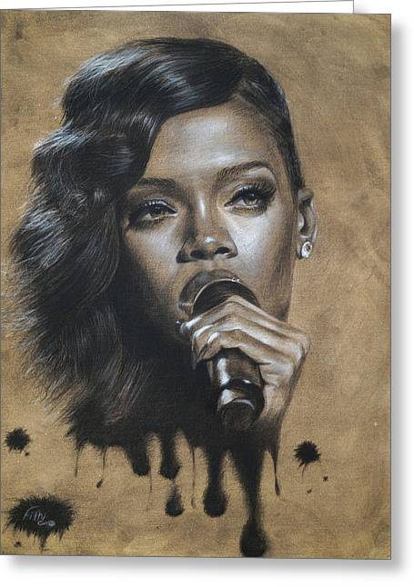 Celebrity Portrait Greeting Cards - Rihanna Dripping Talent  Greeting Card by Fithi Abraham