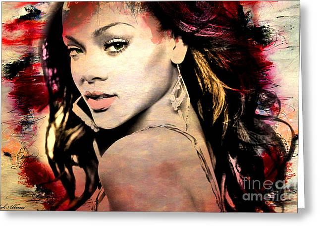 Pop Singer Greeting Cards - Rihanna Greeting Card by Mark Ashkenazi