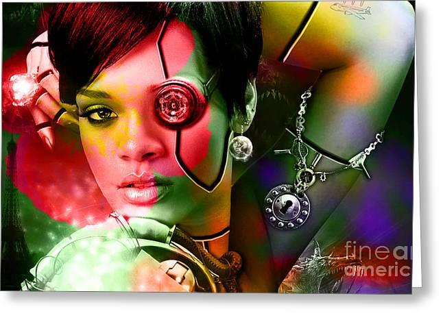 Rihanna Greeting Card by Marvin Blaine