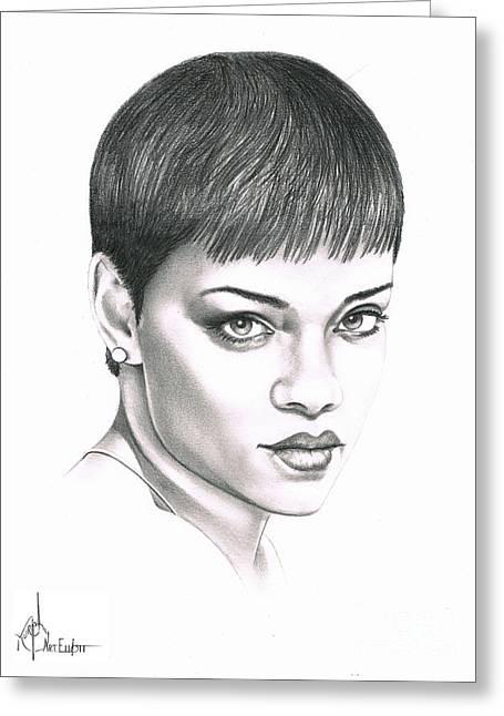 Pencil Drawing Greeting Cards - Rihanna Greeting Card by Murphy Elliott