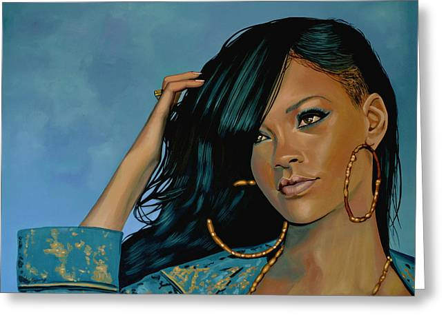 Rihanna Painting Greeting Card by Paul Meijering