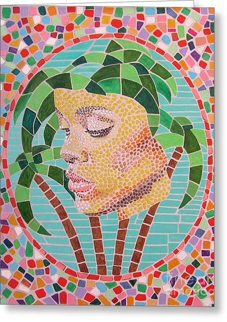 Rihanna Paintings Greeting Cards - Rihanna portrait painting in mosaic  Greeting Card by Jeepee Aero