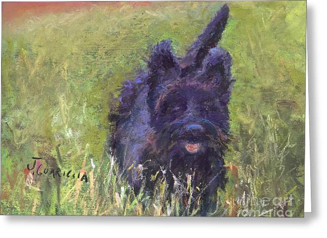 Small Dog Pastels Greeting Cards - Riley Greeting Card by Joyce A Guariglia