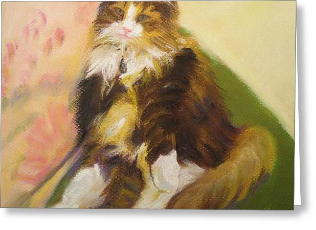 Cat Prints Pastels Greeting Cards - Riley Greeting Card by Katrina West