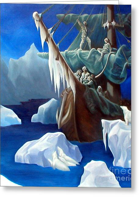 Wooden Ship Greeting Cards - Rime Of The Ancient Mariner A Tribute to Gustave Dore Greeting Card by Rosemarie Morelli