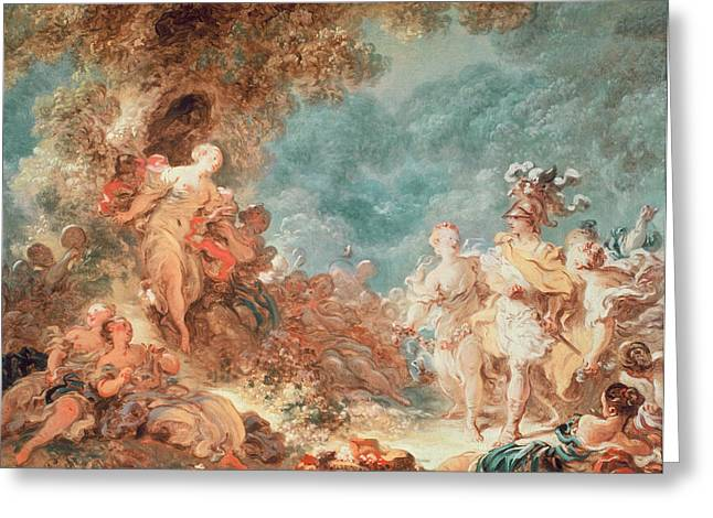 First Love Greeting Cards - Rinaldo in the garden of the palace of Armida Greeting Card by Jean-Honore Fragonard