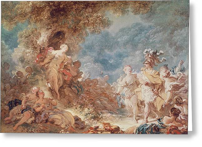 Saracen Greeting Cards - Rinaldo In The Gardens Of Armida Oil On Canvas See Also 250309 Greeting Card by Jean-Honore Fragonard