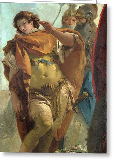 Giovanni Battista Tiepolo Greeting Cards - Rinaldo turning in Shame from the Magic Shield Greeting Card by Giovanni Battista Tiepolo