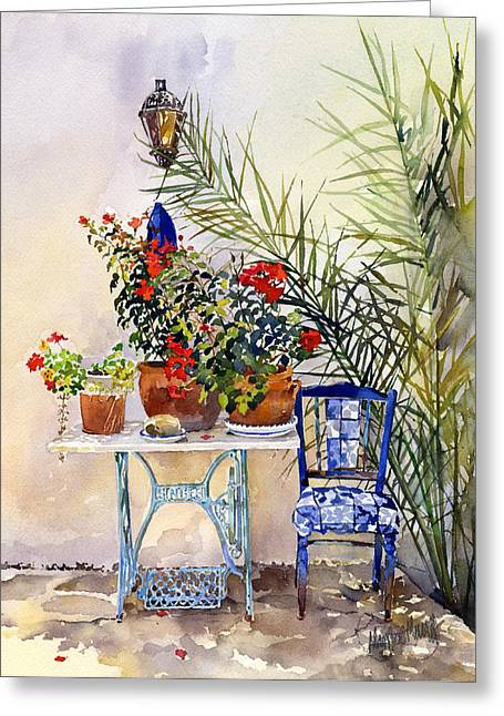 Rincon Paintings Greeting Cards - Rincon de Jardin Greeting Card by Margaret Merry