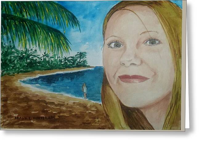 Rincon Beach Paintings Greeting Cards - Rincon Girl Greeting Card by Frank Hunter