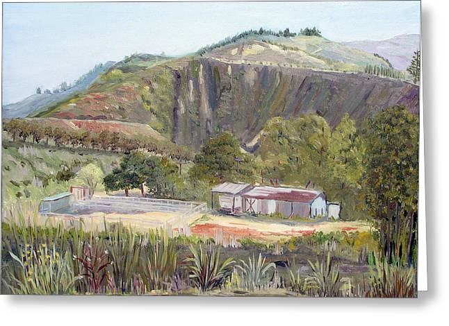 Rincon Paintings Greeting Cards - Rincon Hill Ranch Greeting Card by Donald Gazzaniga