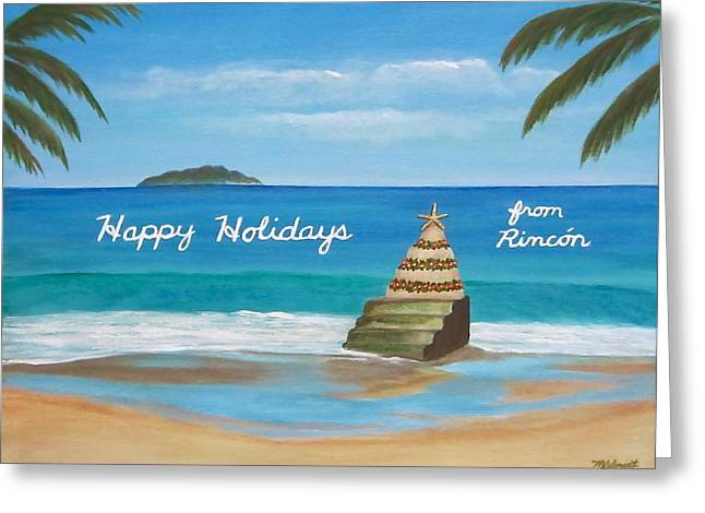Rincon Beach Paintings Greeting Cards - Rincon holiday card Greeting Card by Maureen Schmidt