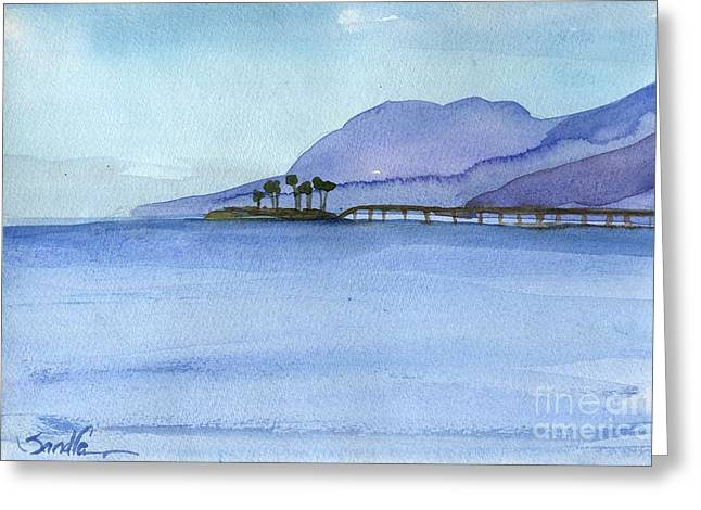 Rincon Paintings Greeting Cards - Rincon Island Ventura County Greeting Card by Sandra Stone