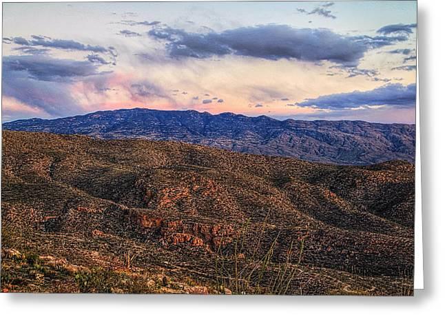 Rincon Mountains Greeting Cards - Rincon Mountains From Catalina Mountains Greeting Card by Eduardo Palazuelos Romo