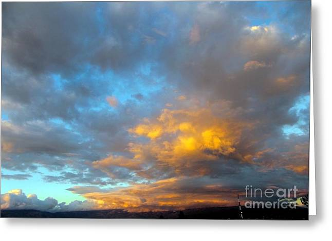 Rincon Mountains Greeting Cards - Rincon Mt. Sunset Greeting Card by Jerry Bokowski