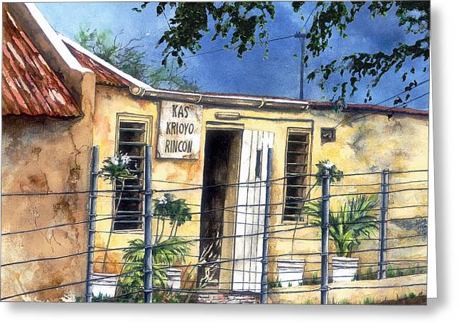 Rincon Greeting Cards - Rincon on Bonaire Greeting Card by Marianne Cats