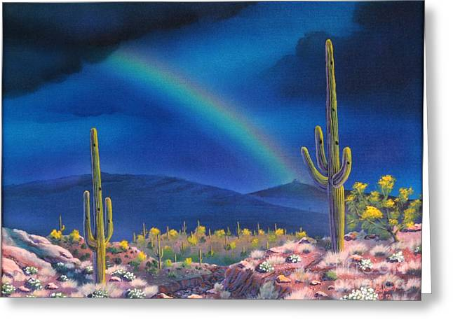 Rincon Paintings Greeting Cards - Rincon Peak Rainbow Greeting Card by Jerry Bokowski