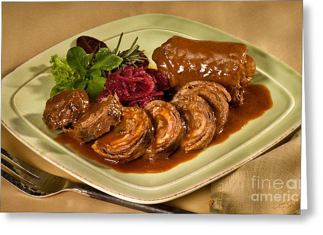 Essen Greeting Cards - Rinder Rouladen - Beef Rolades Greeting Card by Iris Richardson