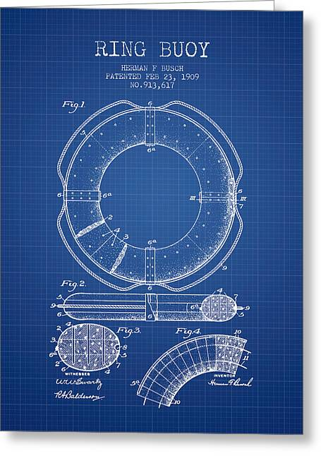 Lifebelt Greeting Cards - Ring Buoy Patent from 1909 - Blueprint Greeting Card by Aged Pixel