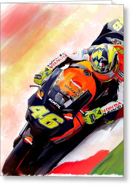 Main Street Greeting Cards - Ring Of Fire Valentino Rossi Greeting Card by Iconic Images Art Gallery David Pucciarelli