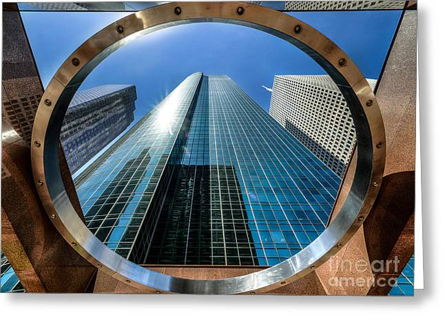 Ring Of Trust - Wells Fargo Plaza Greeting Card by Dee Zunker