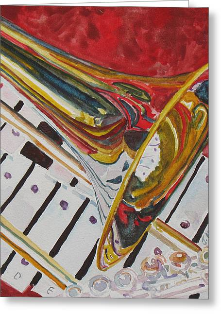 Trombone Greeting Cards - Ringing in the Brass Greeting Card by Jenny Armitage