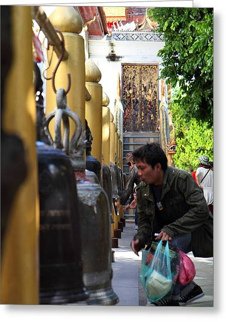 Bell Greeting Cards - Ringing of the Bells - Wat Phrathat Doi Suthep - Chiang Mai Thailand - 01131 Greeting Card by DC Photographer