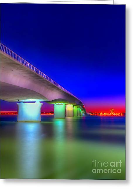 Habor Greeting Cards - Ringling Bridge Greeting Card by Marvin Spates