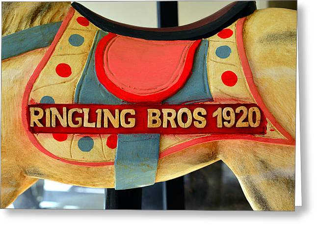 Ringling Brothers Greeting Cards - Ringling Carousel Horse 1920 Greeting Card by David Lee Thompson