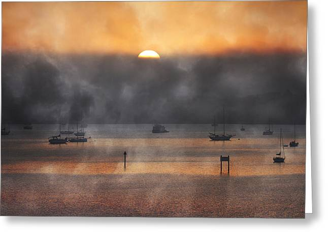 Foggy Ocean Greeting Cards - Ringling Misty Morning Greeting Card by Betsy C  Knapp