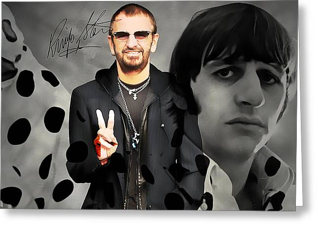 The Beatles. Celebrity Portraits Greeting Cards - Ringo Star Greeting Card by Marvin Blaine