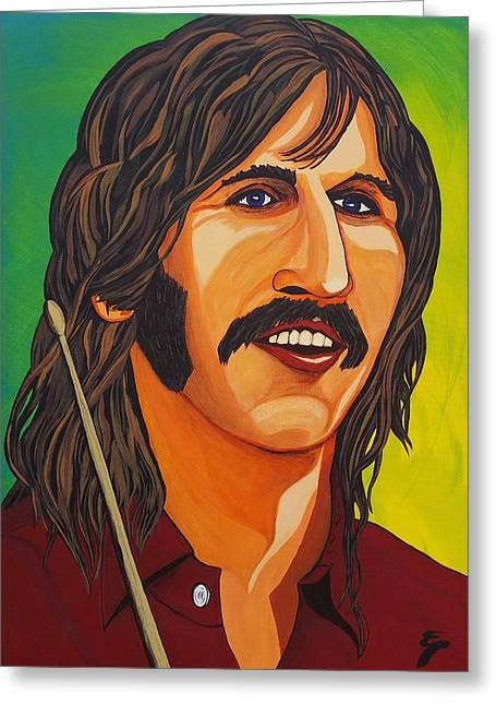 Famous Person Mixed Media Greeting Cards - Ringo Star    Stick Greeting Card by Edward Pebworth