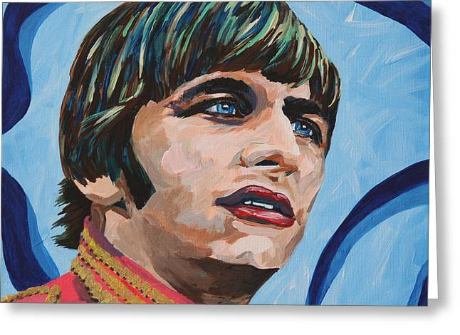 British Portraits Greeting Cards - Ringo Starr Portrait Greeting Card by Robert Yaeger