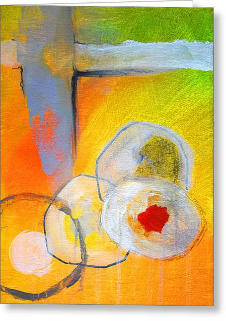 Recently Sold -  - White Paintings Greeting Cards - Rings Abstract Greeting Card by Nancy Merkle