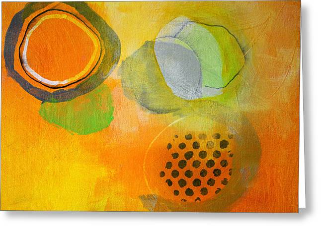 Green And Yellow Abstract Greeting Cards - Rings and Circles Greeting Card by Nancy Merkle